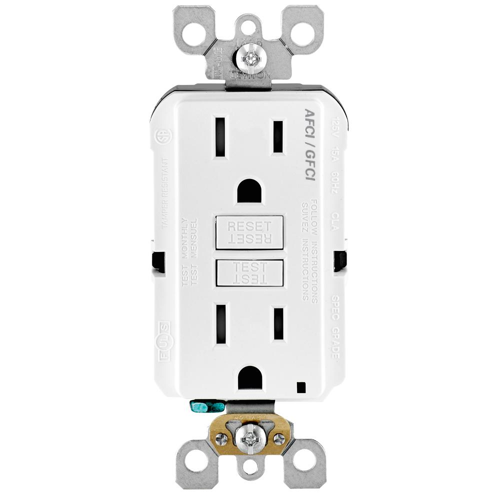 Leviton 15 Amp 125 Volt Afci Gfci Dual Function Outlet White Agtr1 Gfi Internal Wiring Diagram