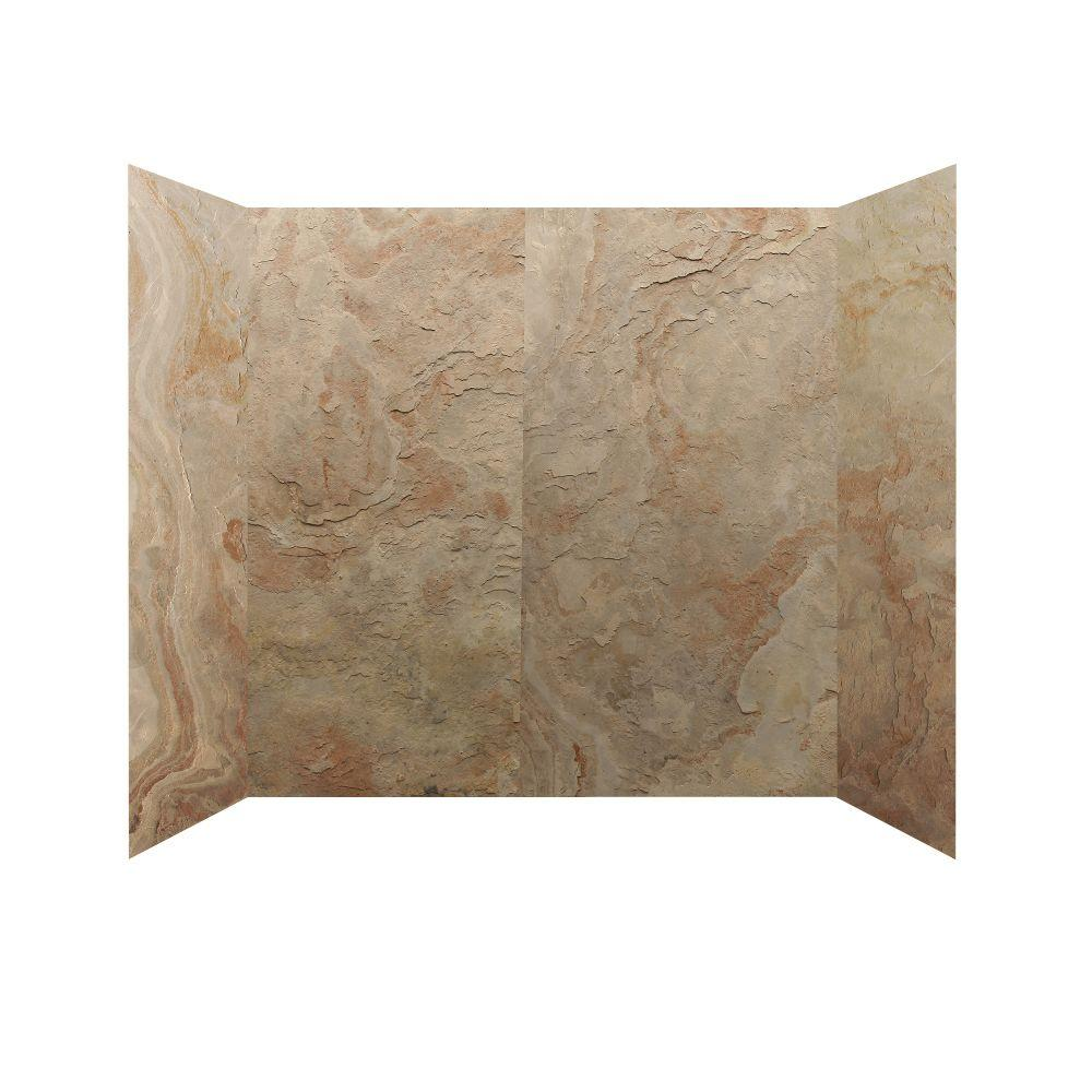 null 30 in. x 60 in. x 60 in. 4 Panel Tub Surround in Golden Sand-DISCONTINUED