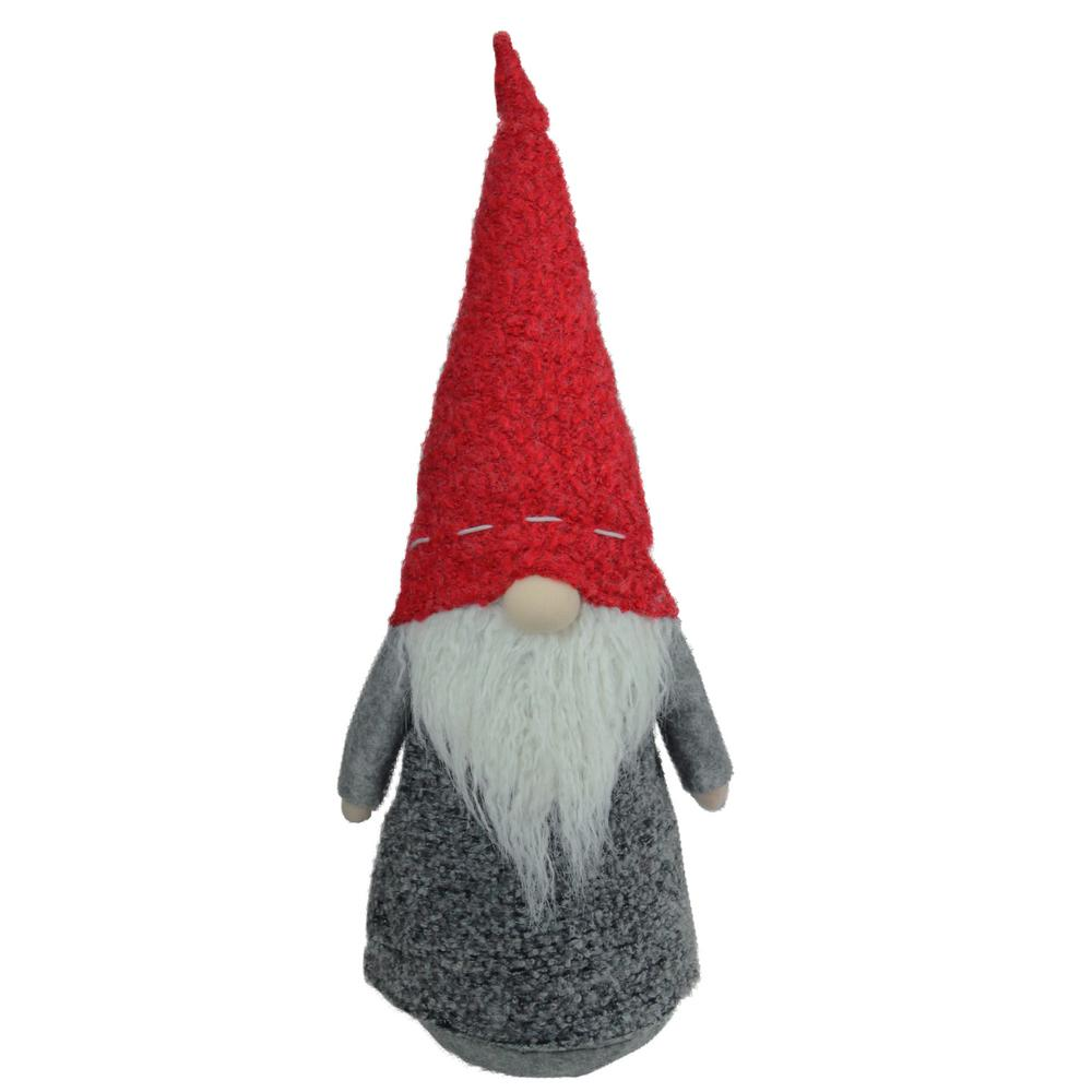 Christmas Gnome.11 In Christmas Morning Plush Red And Gray Christmas Gnome Tabletop Figure