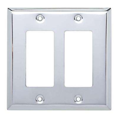 Stamped Square Decorative Double Rocker Switch Plate, Polished Chrome