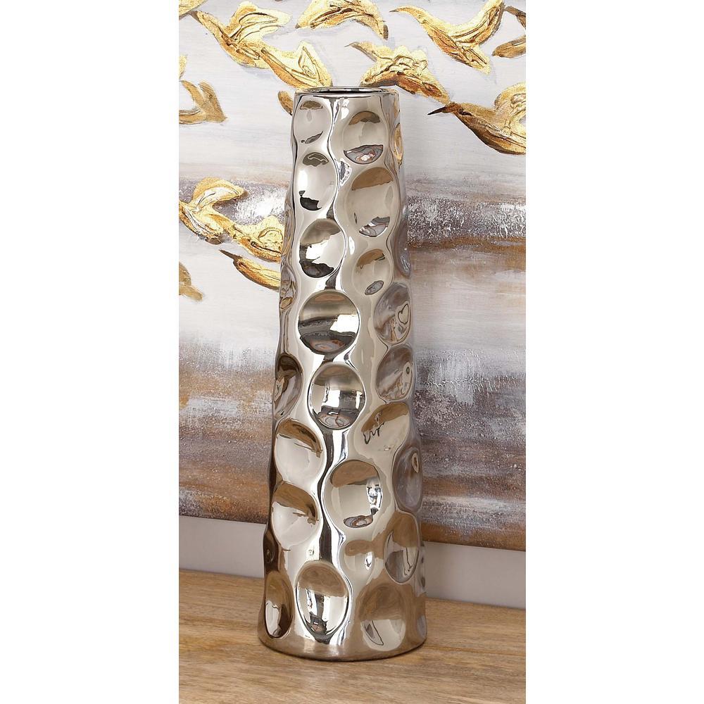 20 in. Ceramic Tower-Molded Decorative Vase in Silver