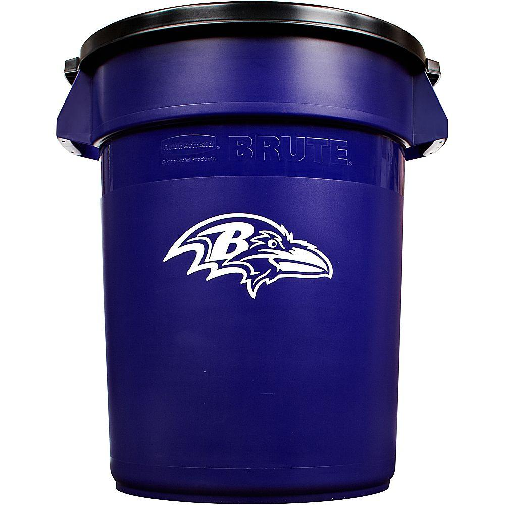Rubbermaid Commercial Products BRUTE NFL 32 Gal. Baltimore Ravens Round Trash Can with Lid