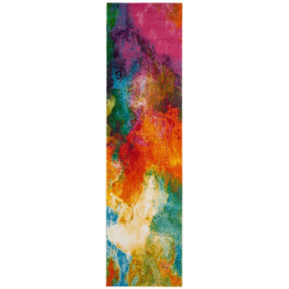 Watercolor Orange/Green 2 ft. x 10 ft. Runner Rug