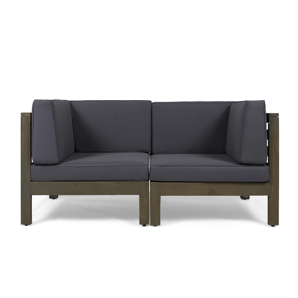 Hadlee Gray Wood Outdoor Loveseat with Dark Gray Cushions