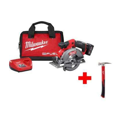 M12 FUEL 12-Volt Lithium-Ion 5-3/8 in. Cordless Circular Saw Kit with 19 oz. Smooth Face Hammer