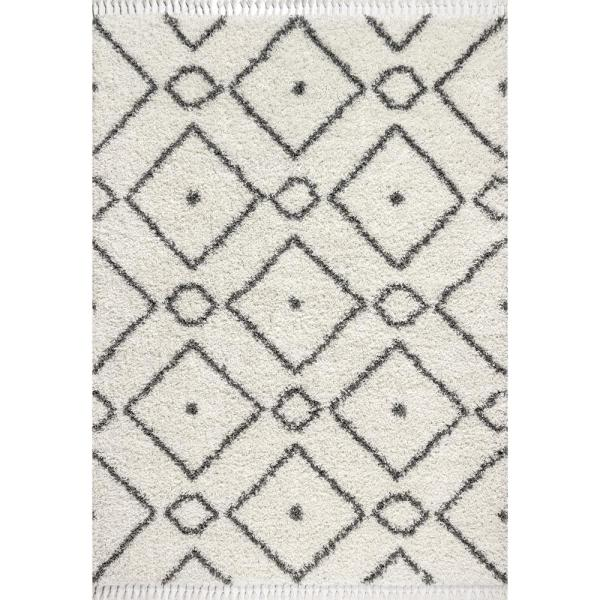 Mercer Shag Plush Tassel Moroccan Diamond Cream/Grey 8 ft. x 10 ft. Area Rug
