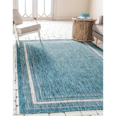 Outdoor Soft Border Teal 4' 0 x 6' 0 Area Rug