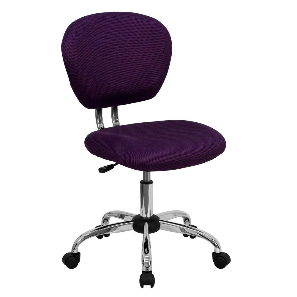 Flash Furniture Mid Back Purple Mesh Swivel Task Chair With Chrome Base