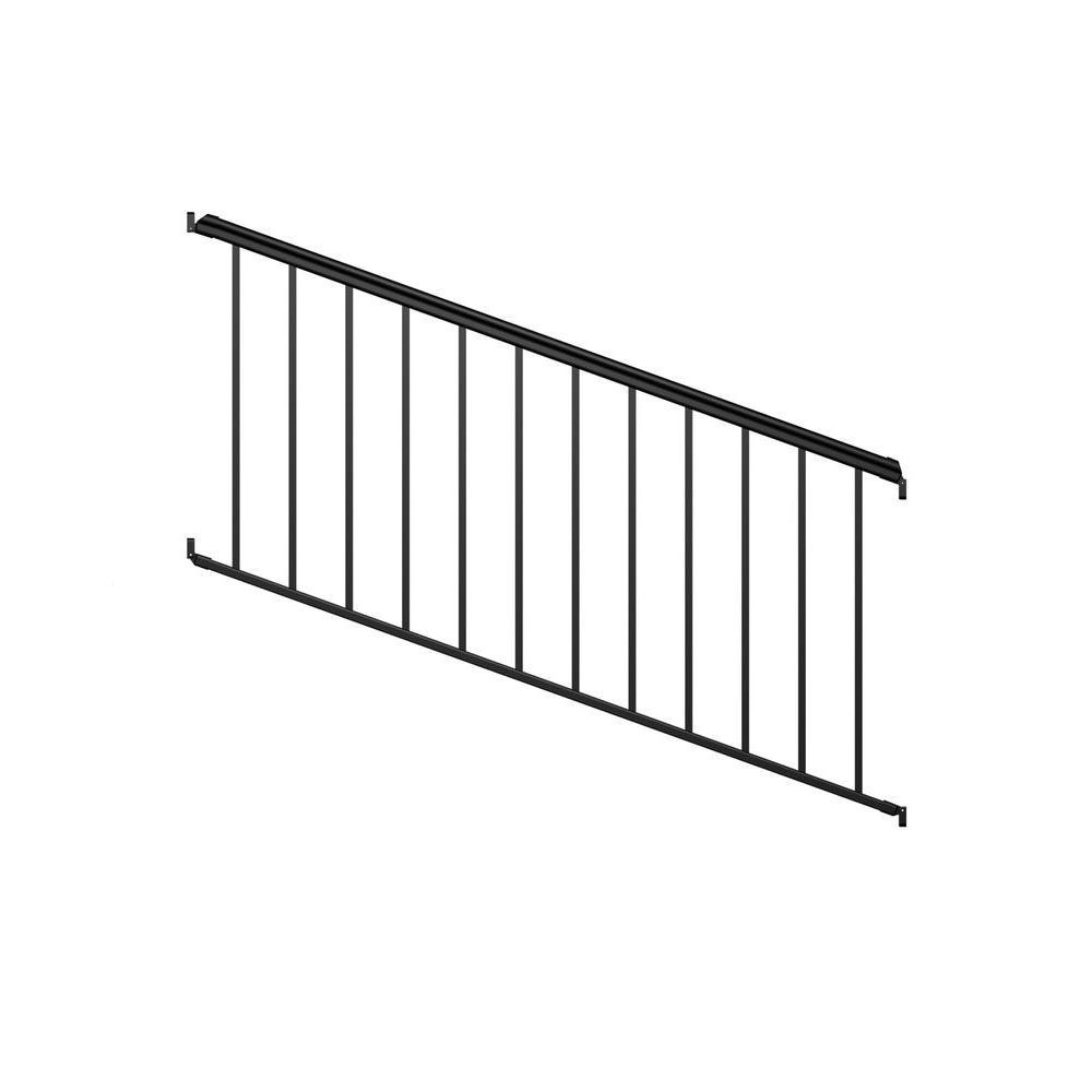 8 ft. Black Fine Textured Aluminum Stair Rail Kit (1-Qty)