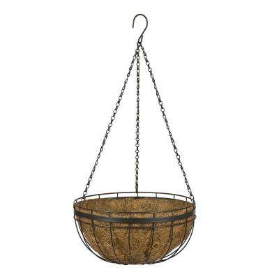 Queen Elizabeth Round Style 14 in. Metal and Coconut Liner Hanging Basket