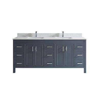 Dawlish 75 in. W x 22 in. D Vanity in Pepper Gray with Solid Surface Vanity Top in White with White Basin