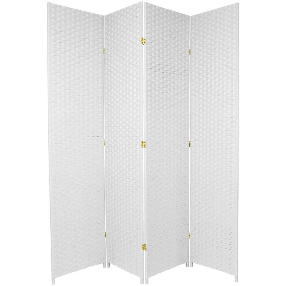 Oriental Furniture 7 Ft White 4 Panel Room Divider Ss7fiber Wht 4p