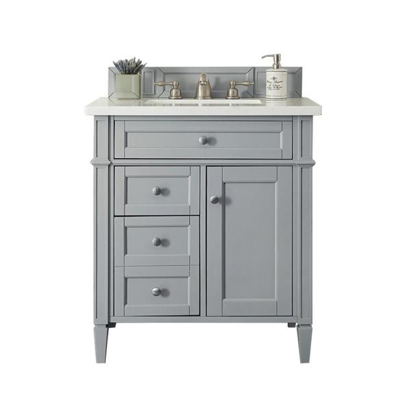 Brittany 30 in. W Single Vanity in Urban Gray with Solid Surface Vanity Top in Arctic Fall with White Basin