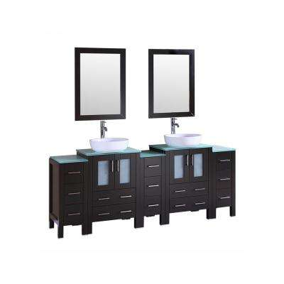 Bosconi 84 in. Double Vanity in Espresso with Vanity Top in Green with White Basin and Mirror