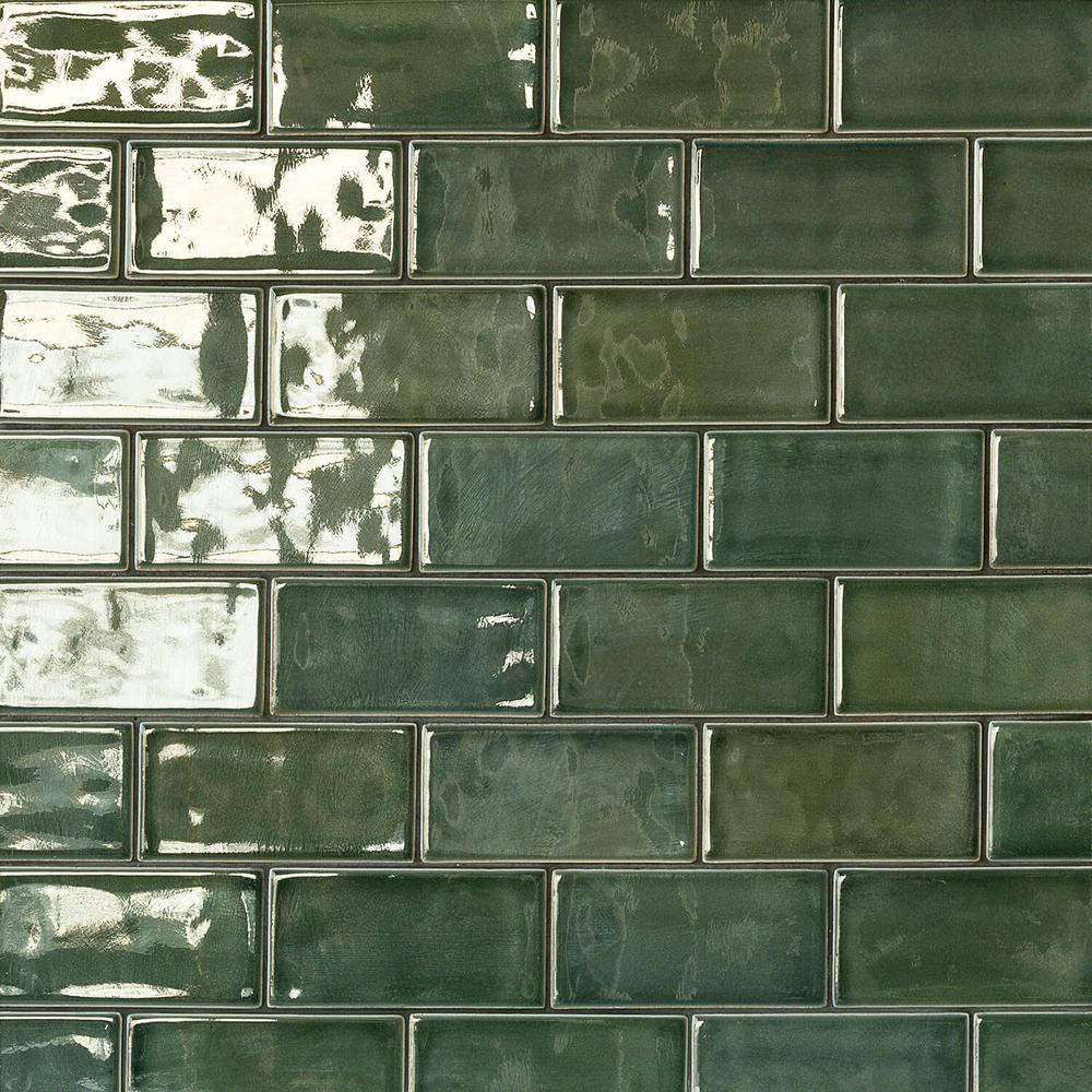 Ivy Hill Tile Oracle Deep Emerald 3 in. x 6 in. Polished Ceramic Subway Tile (1 sq. ft.)