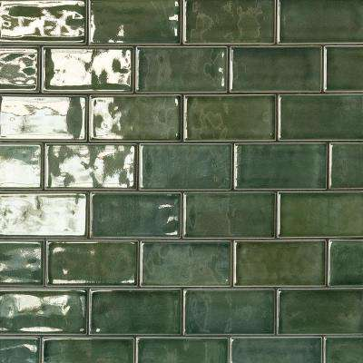 Oracle Deep Emerald 3 in. x 6 in. Polished Ceramic Subway Tile (1 sq. ft.)