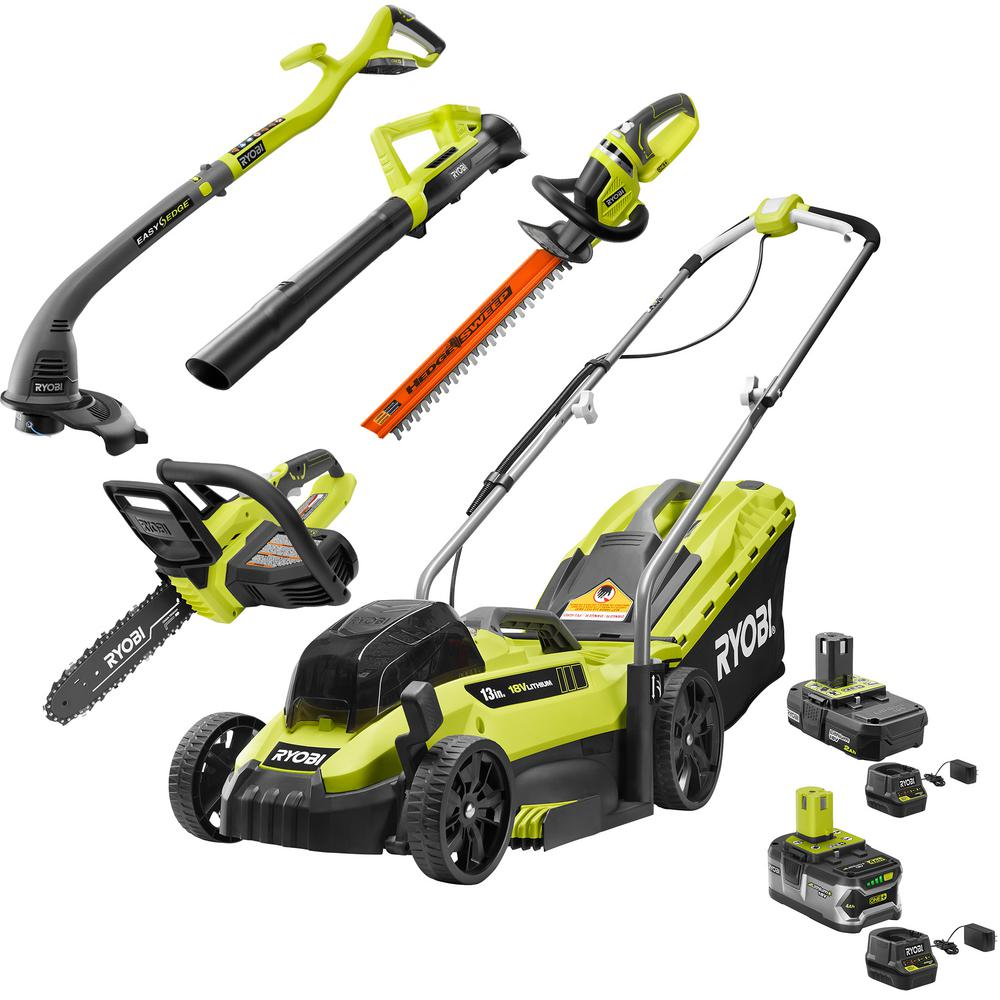 RYOBI 13 in. ONE+ 18-Volt Lithium-Ion Walk Behind Push Lawn Mower/Blower/Chainsaw/Hedge/String Trimmer Kit (5-Tool)