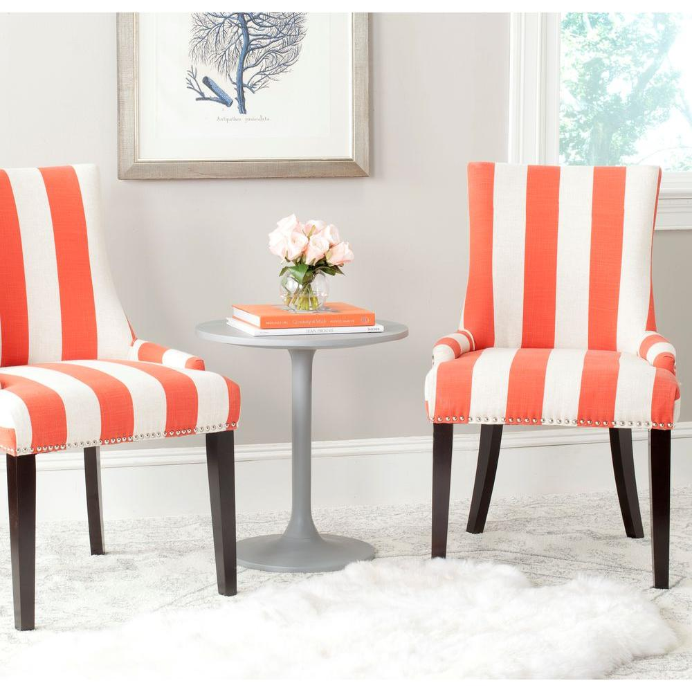 Safavieh Lester Orange and White Linen Blend Dining Chair (Set of ...
