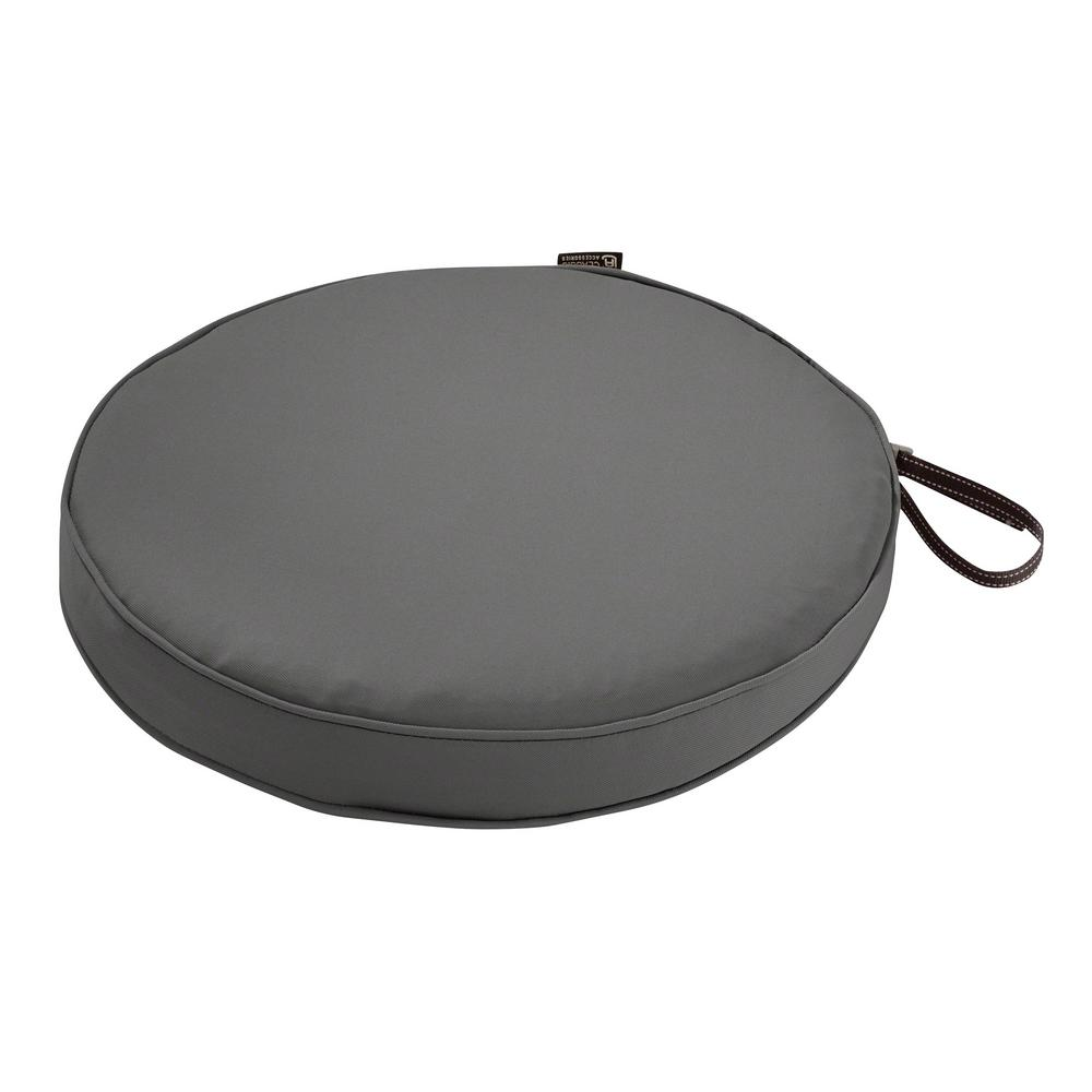 Montlake Fade Safe Light Charcoal 18 in. Round Outdoor Seat Cushion