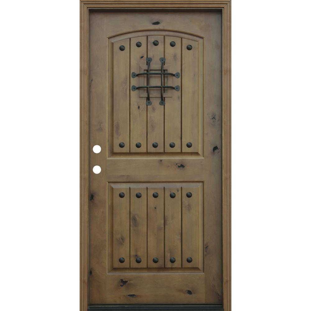 Pacific Entries 36 in. x 80 in. Rustic Arched 2-Panel V-Groove Stained Knotty Alder Wood Prehung Front Door with 6 in. Wall Series