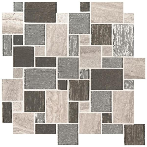 Lynx Pattern 11.73 in. x 11.73 in. x 8mm Porcelain Glass Mesh-Mounted Mosaic Tile (9.6 sq. ft. / case)