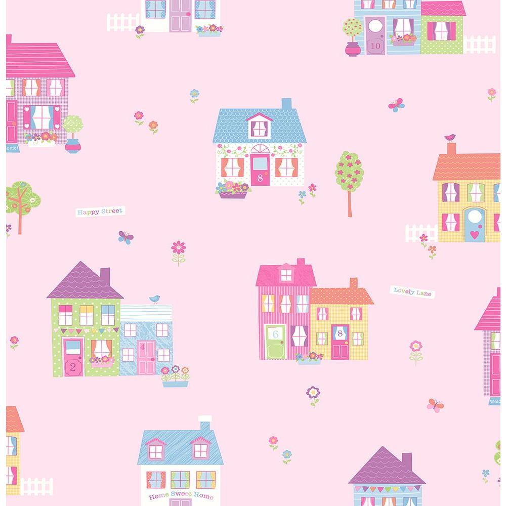 Pink Happy Street Houses Wallpaper Sample