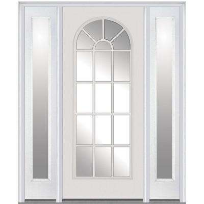 64 in x 80 in clear glass right hand full lite round top