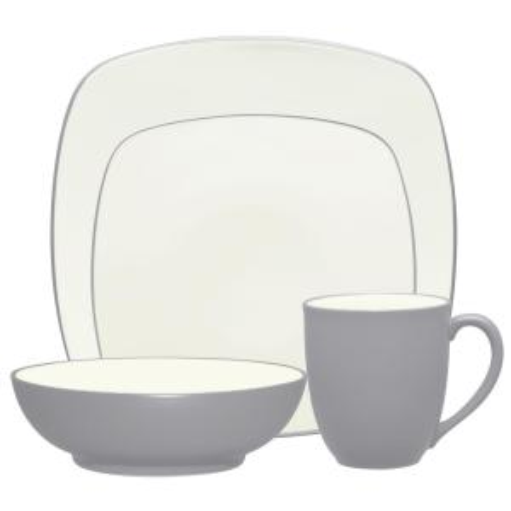 Colorwave 4-Piece Slate Square Dinnerware Set