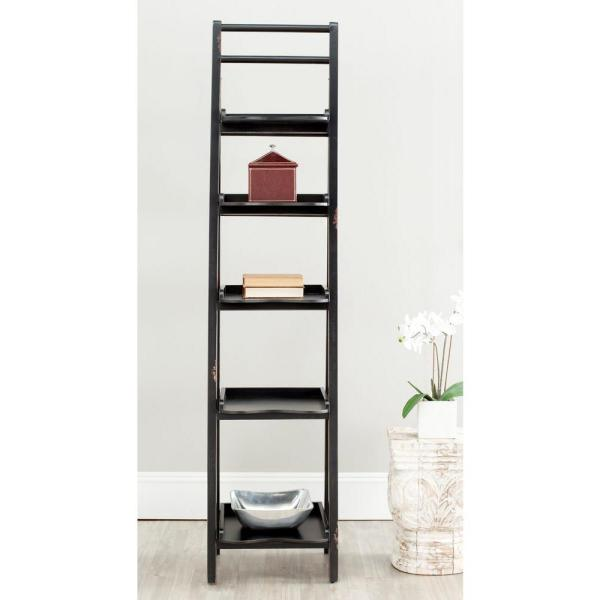 Asher Black Ladder Bookcase