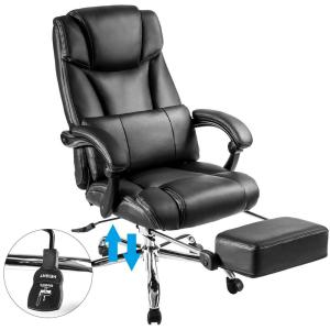 Pleasant Merax Black Ergonomic Pu Leather Big And Tall Office Chair Ibusinesslaw Wood Chair Design Ideas Ibusinesslaworg