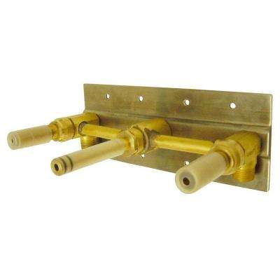 2-Handle Wall Mount Rough-In Valve with Mounting Plate in Rough Brass
