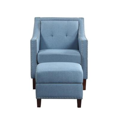 Accent Blue Chair with Storage Ottoman