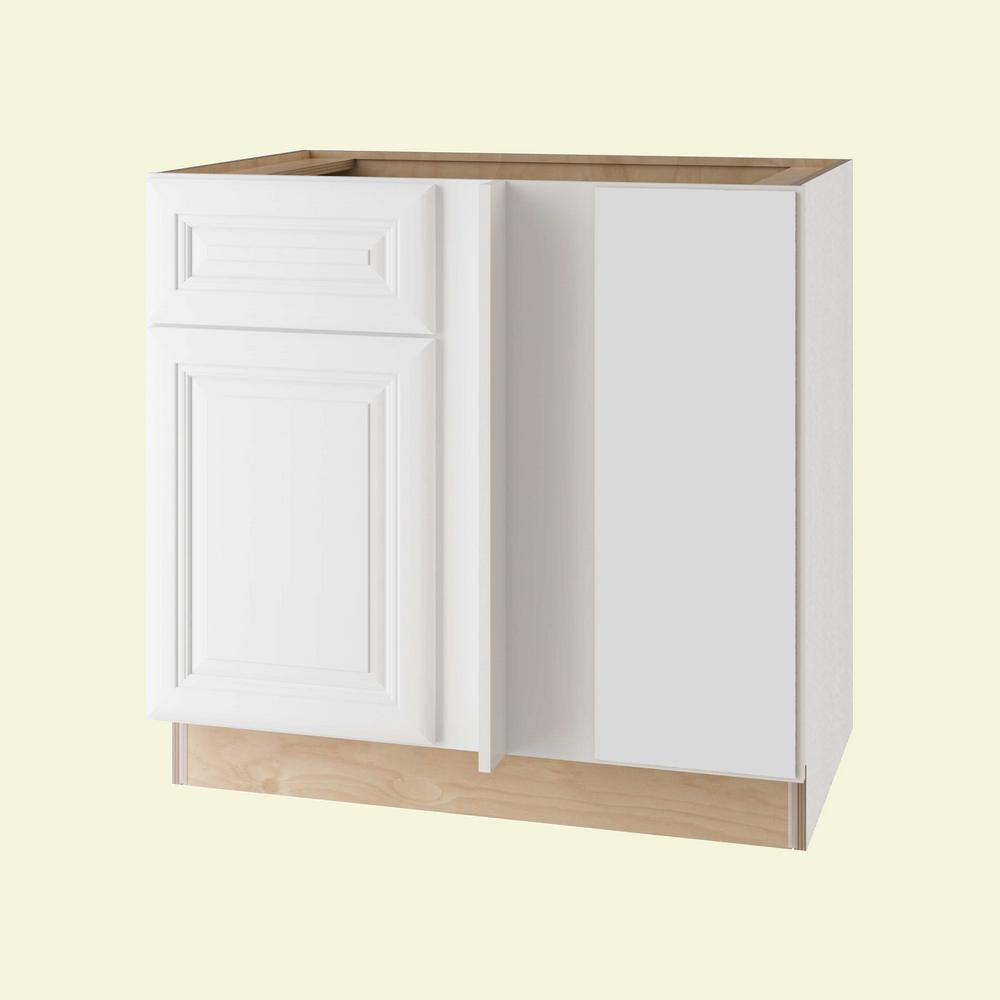 Home Decorators Collection Brookfield Assembled 36x34.5x24 in. Single Door & Drawer Hinge Right Base Kitchen Blind Corner Cabinet in Pacific White