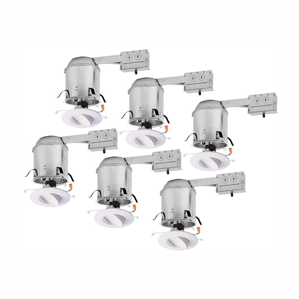 Halo RA 6 in. Remodel Ceiling Housing and Dimmable White Integrated LED Recessed Light Spotlight Kit, T24 Rated, (6-Pack)