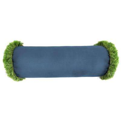 Sunbrella 7 in. x 20 in. Canvas Sapphire Blue Bolster Outdoor Pillow with Gingko Fringe