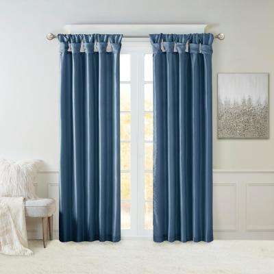 Natalie Teal 50 in. x 84 in. Twist Tab Lined Window Curtain