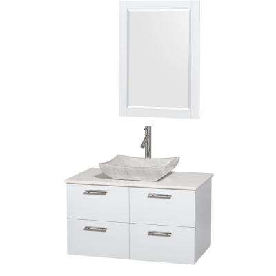 Amare 36 in. Vanity in Glossy White with Solid-Surface Vanity Top in White, Carrara Marble Sink and 24 in. Mirror