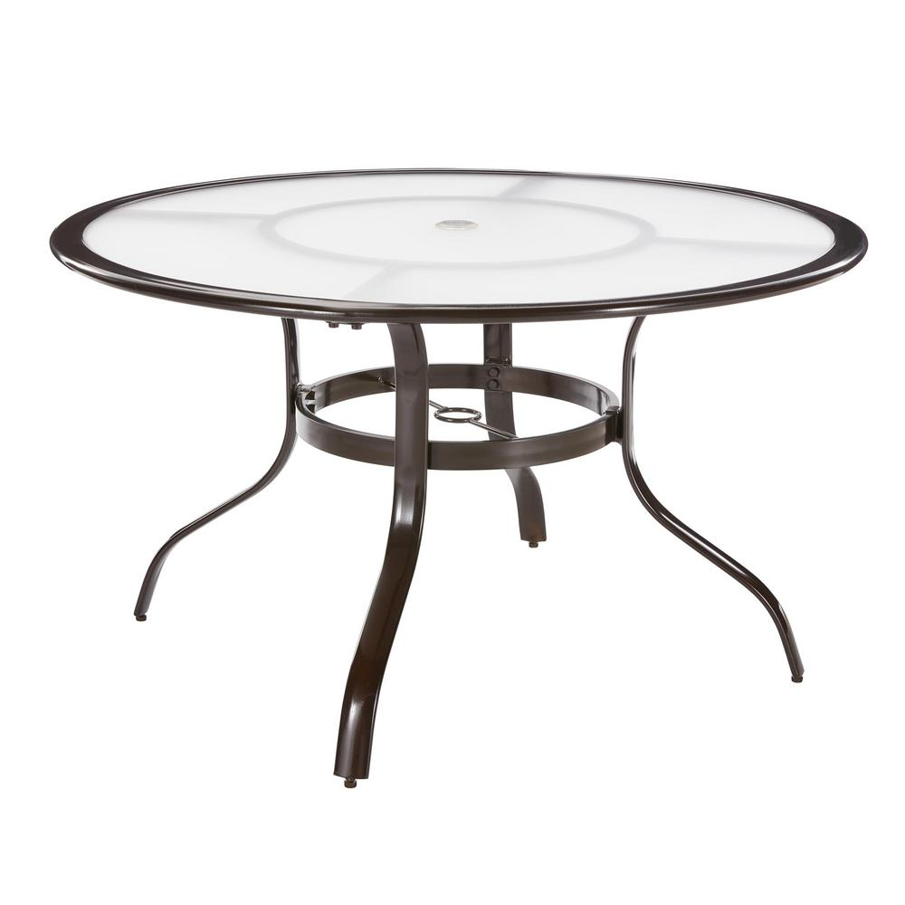Hampton Bay Commercial Aluminum 48 in  Round Outdoor Acrylic Top Dining  Table in Brown