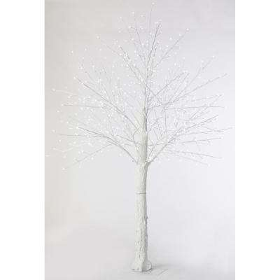 8 ft. Pre-Lit LED Snowy White Artificial Christmas Tree