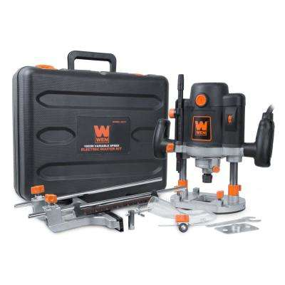 15 Amp Corded Variable Speed Plunge Woodworking Router Kit with Carrying Case and Edge Guide