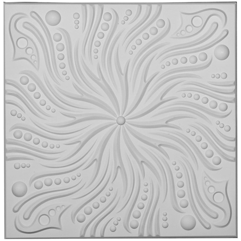 Ekena Millwork Swirl 2 Ft. X 2 Ft. Glue Up Ceiling Tile