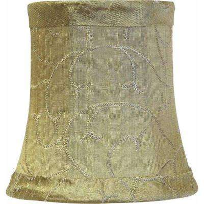 Stretch Bell Olive Green Dupione Silk Chandelier Shade with Embroidered Vines