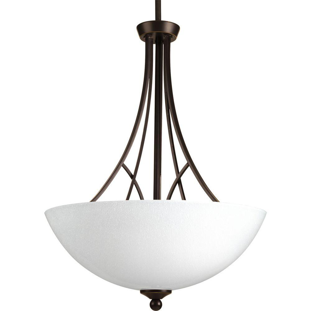 Progress Lighting Prosper Collection 3-Light Antique Bronze Foyer Pendant with Polished Seeded Glass
