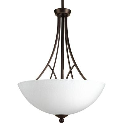 Prosper Collection 3-Light Antique Bronze Foyer Pendant with Polished Seeded Glass
