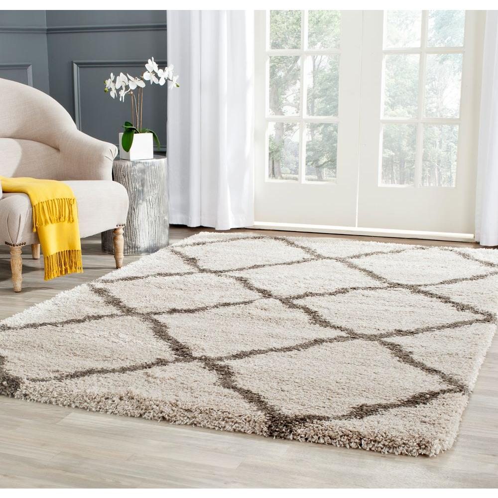 Safavieh Belize Shag Taupe Gray 4 Ft X 6 Ft Area Rug