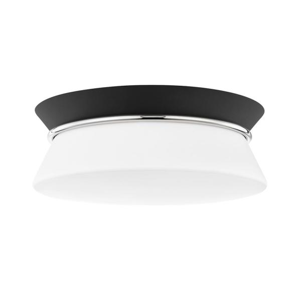 Cath 12.75 in. 2-Light Polished Nickel/Black Flush Mount
