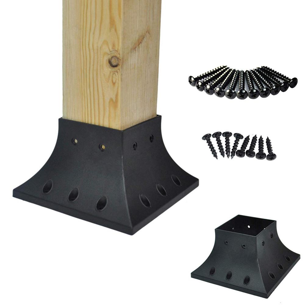 Myard 4 in. x 4 in. Black Post Base Cover Skirt Flange and ...