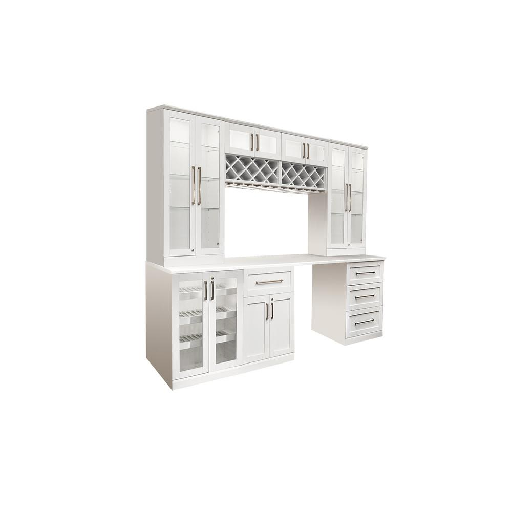 Newage Products Home Bar White 8 Piece Shaker Style Cabinet