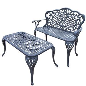 Mississippi Cast Aluminum Loveseat Settee Bench and 35 inch x 18 inch Cocktail Table Set by