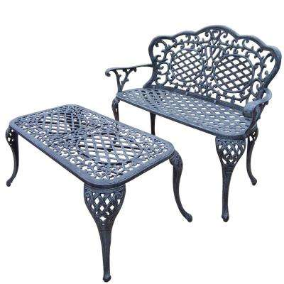 Mississippi Cast Aluminum Loveseat Settee Bench and 35 in. x 18 in. Cocktail Table Set